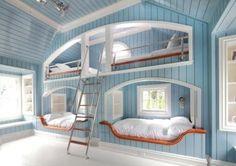 Neil Landino Cool Bunk Beds Built In Bunks Awesome Bedrooms Modern Bunk Beds, Cool Bunk Beds, Kids Bunk Beds, Lofted Beds, Built In Bunks, Built Ins, Bunk Rooms, Awesome Bedrooms, Awesome Beds