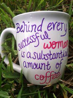 Women's Coffee Mug Large Quote Coffee Mug by JustABrushAndPaint, $8.00
