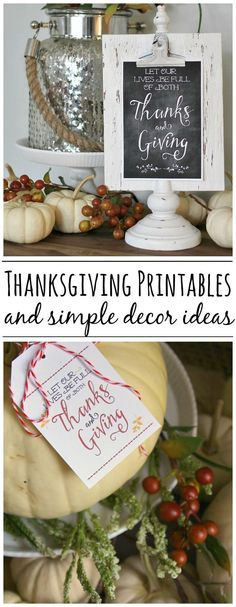 Easy Thanksgiving decor ideas using these free Thanksgiving printables. Love the chalkboard!