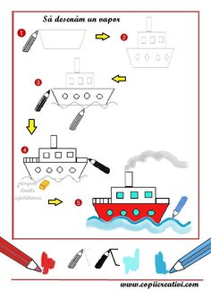 Boot tekenen met kleuters Basic Drawing For Kids, Easy Drawings For Kids, Art For Kids, Learn Art, Learn To Draw, Handwriting Activities, Saint Nicolas, Preschool Lessons, You Draw