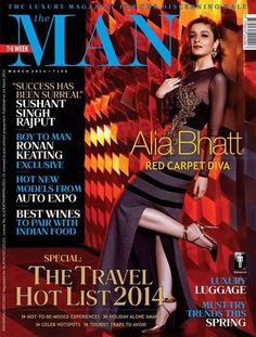 The MAN - March 01 , 2014 : Alia Bhatt, Red carpet diva. Boy to man Rohan Keating exclusive. Magazine Cover Page, Fashion Magazine Cover, Magazine Cover Design, Alia Bhatt Photoshoot, Student Of The Year, Bollywood Photos, Bollywood Fashion, 2014 Trends, Male Magazine