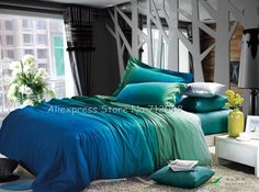 Premium cotton reversible duvet quilt covers turquoise blue apple green gradient pattern bedding sets 4pcs with sheets bed linen-in Bedding Sets from Home  Garden on Aliexpress.com
