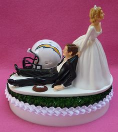 San Diego Chargers Wedding Cake Topper Themed Sports Turf Topper w/ Garter, Display Box
