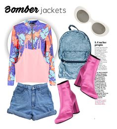 """""""Bomber"""" by carmencherie ❤ liked on Polyvore featuring Boohoo, Yves Saint Laurent, Bill Blass, Acne Studios and bomberjackets"""