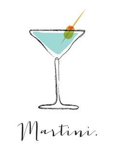 Martini cocktail bar art illustration signed por FowlerCreativeArts