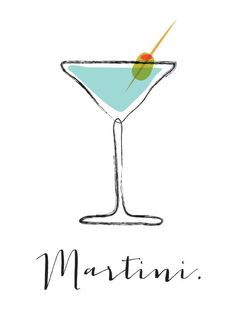 Martini cocktail bar art illustration signed por FowlerCreativeArts