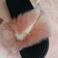 Sumthin fresh 4 spring Maude pink fur with AB crystals (Nike Slides)....  Shop @ Goddess Cave