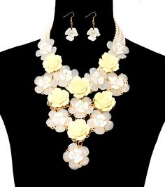 FLOWER CORD NECKLACE AND EARRING SET IVORY ONLY $17.88