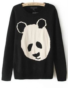 Black Long Sleeve Cartoon Panda Pattern Sweater pictures