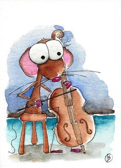 ACEO Original watercolor painting whimsical Lucia Stewart Mouse instrument cello #IllustrationArt