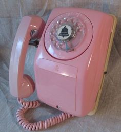 Vintage 1950s Pink Wall Rotary Dial Phone