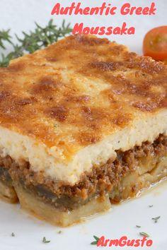 Famous Greek Food, Traditional Greek Moussaka Recipe, Traditional Greek Food, Moussaka Recipe Greek, Greek Lasagna, Mousaka Recipe, Greek Dishes, Recipes, Vegetables