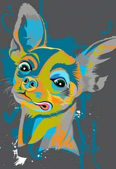 CHIHUAHUA, dog, art print, illustration in Pop Art colors of green, blue, and orange, Poster size print available in multiple sizes.