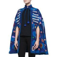 Libertine Embellished Applique Wool Cape