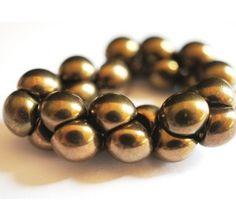 25pcs Czech Glass Mushroom Button Beads 9x8mm Jet Bronze Luster