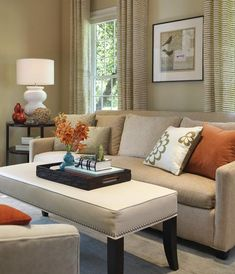Tan living room ideas: tan and red living room ideas blue curtain exclusive Living Room Decor Tips, Fall Living Room, Small Living Room Design, Living Room White, Living Room Designs, Living Rooms, Modern Country, Furniture Layout, Luxury Living