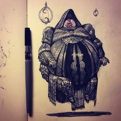 Baron Harkonnen. Dune sci-fi concept artwork illustration by Tom Kraky.