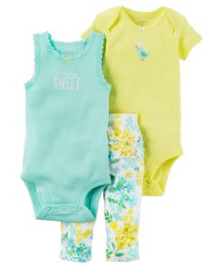 Cute spring or summer baby girl outfit, tank, onesie, pants 3-Piece Babysoft Bodysuit Pant Set