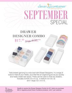 Check out September's special!  Consider booking a party to earn free gifts, in addition to this special.  www.mycleverbiz.com/lwagner  lisa.clevercontainer@outlook.com