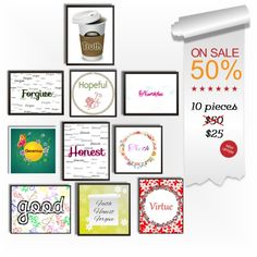 50% Off Package Wall Art Decor - Instant  Download - Room Decor - 10 Pieces - Discount