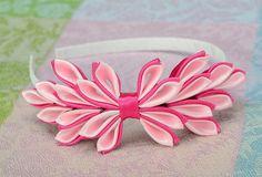 Diadema rosa con decoración de raso por Flowersqueen en Etsy
