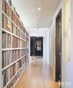 White Modern Hallway with Bookshelves