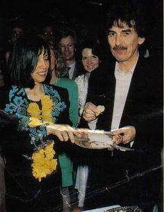 Olivia Arias-Harrison and George Harrison
