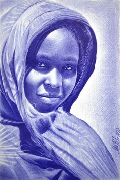 African girl with ballpoint pen by me Ballpen Drawing, Biro Drawing, Ballpoint Pen Drawing, African Paintings, Black Art Pictures, Pen Sketch, Doodle Sketch, African Girl, Realistic Drawings