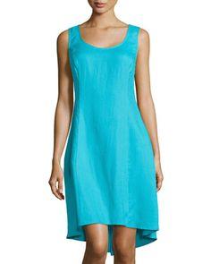Scoop-Neck Linen Tank Dress, Scuba Blue by Neiman Marcus at Neiman Marcus Last Call.