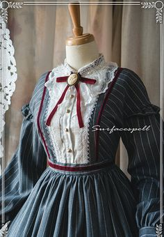 Surface Spell -The Rose Given by God- Vintage Victorian Style Lolita OP Dress,Lolita Dresses, Vintage Dresses, Vintage Outfits, Vintage Fashion, Modern Victorian Fashion, Vintage Hats, Victorian Era, Lolita Fashion, Emo Fashion, Gothic Fashion