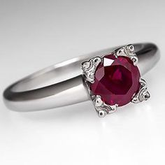 Vintage Ruby Solitaire Engagement Ring Platinum