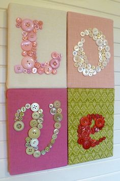 Nursery Button Letter Art Wall Hanging, Children Wall Art, L-O-V-E on 4 Canvases, You Choose Fabrics and Buttons to Match Nursery