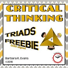 FREE! Triads are great brain exercise and super for vocabulary development. Try this FREE set before you buy other Triad sets.