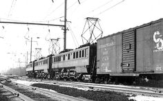PRR 4737  P5 leads a freight in Morrisville PA - 1 19 64
