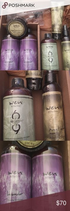 Wen by Chaz Dean Cleansing Conditioner set Brand new unopened. Two full size 16 oz lavender Cleansing Conditioners. 6-13 nourishing cleansing treatment 12 oz. sweat almond mint 6 oz replenishing treatment sam 4oz antifrizz styling cream. 2-oz SAM remoisture intense treatment and two pumps!!  WOW!! wen by Chaz Dean Other