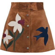 REDValentino Leather-trimmed suede mini skirt (£760) ❤ liked on Polyvore featuring skirts, mini skirts, bottoms, brown skirt, flower skirt, a line mini skirt, short skirts and embroidered skirt