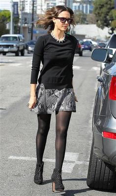 Rock a micro-mini with tights and booties for a versatile day-to-night lookThat's what Jessica Alba did when she attended pal Gwen Stefani's baby shower at the Hotel Bel-Air in Los Angeles on Feb. 8, 2014.RELATED: See more stars at Gwen's baby shower
