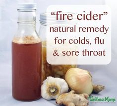 This spicy cider recipe (also called Fire Cider) is a traditional recipe with onion, garlic, ginger and herbs preserved in vinegar and raw honey.
