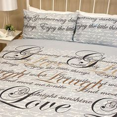 Printed polycotton | Love script design | Matching pillowcases | Machine washable
