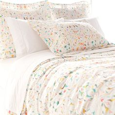 Based on an Italian watercolor, this showstopping cotton duvet cover pairs beautifully with a variety of solid colors and patterns.