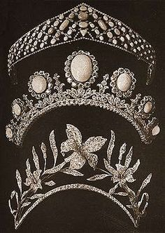 """Tiaras purporting to have belonged to Sophia Petrovna Durnovo. the tiara on top is of turquoise and diamonds, Russian type, reminiscent of the kokoshnik form. The second tiara of diamonds with very large charming opals, is typical of the times, """"Restoration"""", and the third consisting of diamond flowers and leaves."""