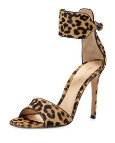 Leopard-Print Calf Hair Ankle-Wrap Sandal by Gianvito Rossi at Neiman Marcus.
