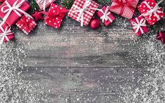 Download wallpapers New Year, 2018, red gift boxes, Christmas, wooden backgrounds, Christmas tree, snow