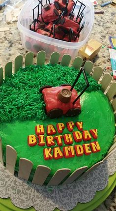 lawn mower themed cake!