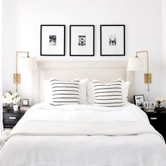 A short break from Christmas themed posts to design crush on this all white bedroom by proving that white is anything but boring! - Architecture and Home Decor - Bedroom - Bathroom - Kitchen And Living Room Interior Design Decorating Ideas - Cozy Bedroom, Bedroom Inspo, Dream Bedroom, Home Decor Bedroom, Bedroom Sconces, Bedroom Frames, White Bedroom Decor, Bedroom Bed, Bedroom Inspiration