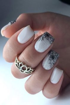 White Nail Designs Bridal Ideas Full Of Style ★ white nail designs wedding minimalistic ombre black flower pattern ne. Lace Nail Design, Elegant Nail Designs, Flower Nail Designs, Fall Nail Designs, Black Wedding Nails, Wedding Nails For Bride, Bride Nails, Wedding Hair, White Lace Nails