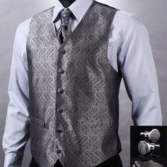 Kvalitná hodvábna pánska vesta + vreckovka, kravata a gombíky - tmavo sivá