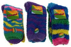 6 Pairs Fuzzy Crew Socks Krazisox Blue Green Yellow Cozy Women Size 4-10 Stripes - FUNsational Finds - 1