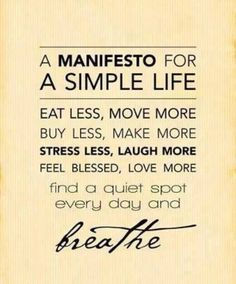 manifesto for a simple life