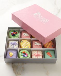 When my kids are old enough to appreciate Easter Petit Fours, I will surprise them each with a gorgeous box like this!
